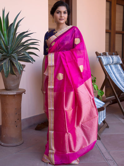 Queen Pink Cotton Silk Chanderi Saree