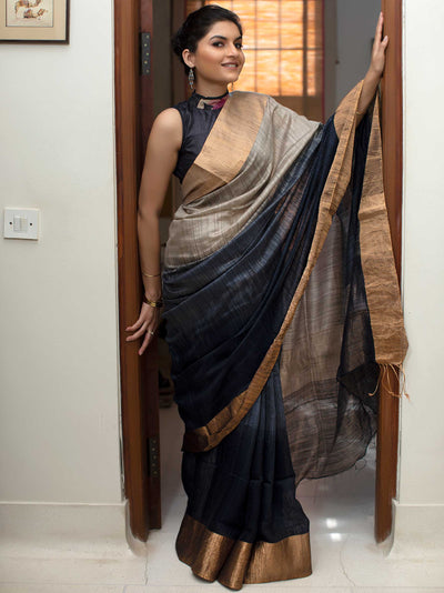 Metal Grey Silk Eri Shaded Saree
