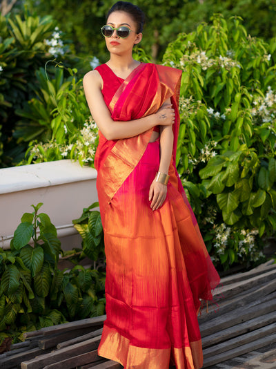 Permanent Orange Silk Eri Shaded Saree