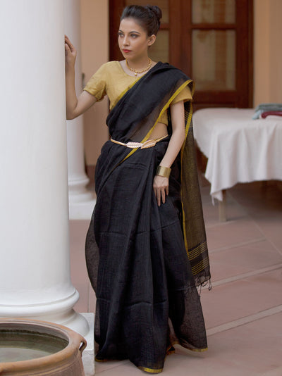 Charcoal Black Linen Zari Saree