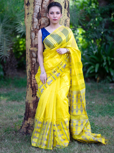 Gamboge Yellow Silk Eri Jamdani Sequins Saree