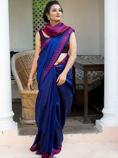 Electric Blue Silk Eri Jamdani Saree