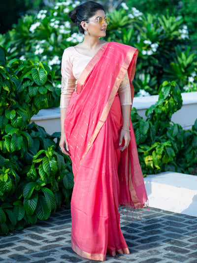 Peach Pink Silk Cotton Khadi Jamdani Saree