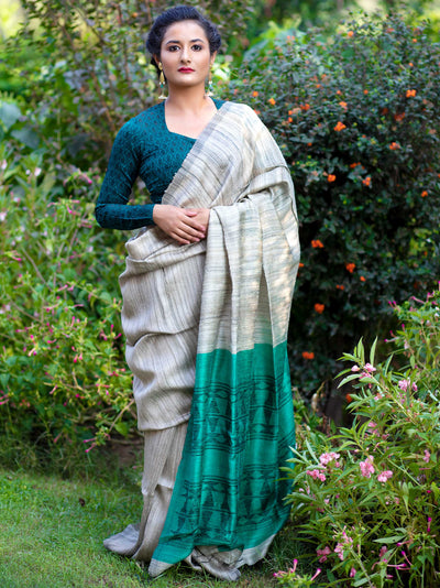 Khadi Grey and Green Silk Tussar Ghicha Jamdani Saree