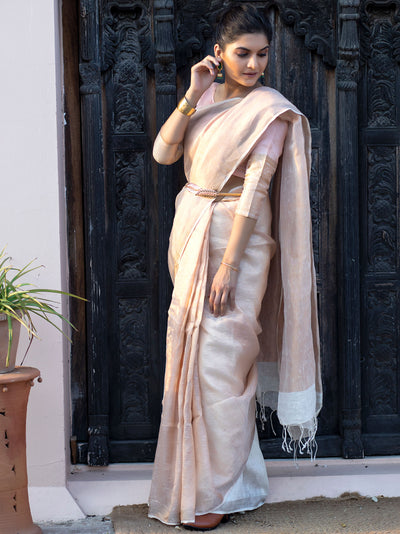 Copper Linen Zari Saree