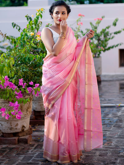 Pastel Pink with Linear Whites Cotton Silk Chanderi Saree