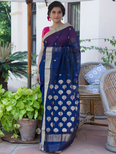 Deep Ultramarine Blue Cotton Silk Chanderi Saree