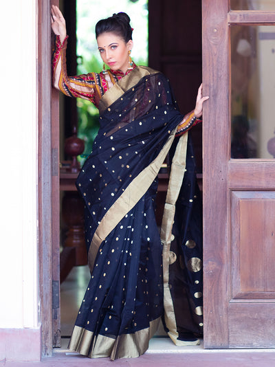 Lamp Black Cotton Silk Chanderi Saree