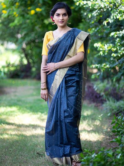 Graphite Grey Cotton Silk Chanderi Saree