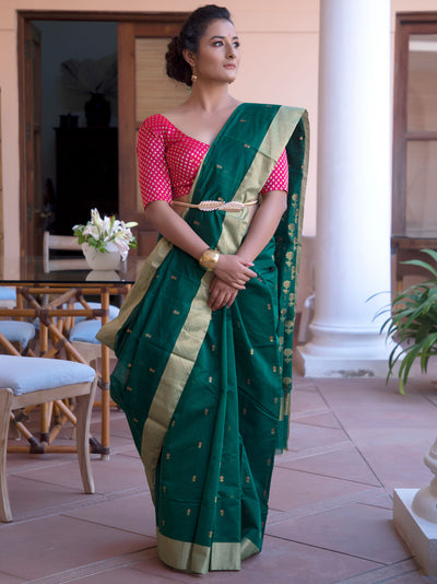 Bottle Green Cotton Silk Chanderi Saree