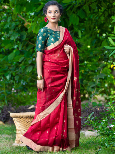 Ruby Red Cotton Silk Chanderi Saree