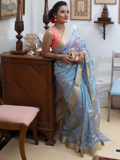 Powder Blue Dual Tone Silk Chanderi Saree