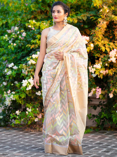 Silver Grey Jaal Cotton Silk Chanderi Jaal Saree