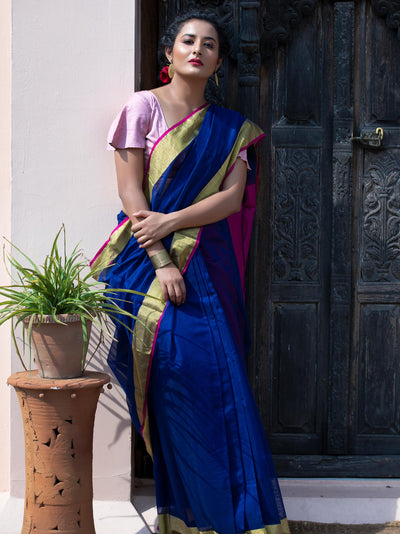 Electric Blue Cotton Silk Chanderi Saree