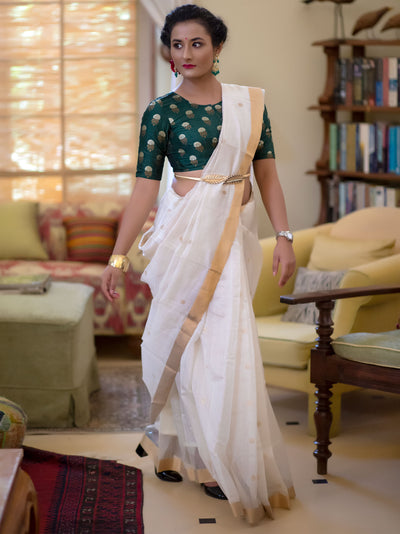 Chalk White Cotton Silk Chanderi Saree