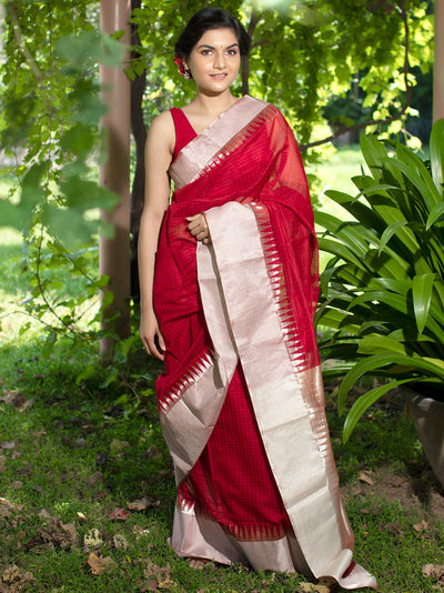 Scarlet Red Cotton Silk Chanderi Saree