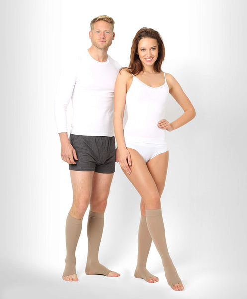 ®BeFit24 Knee High Open Toe Graduated Compression Calf Socks (18-21 mmHg, 90 Denier, Class 1) for Men and Women - Best for Flight and Travel - DVT, Varicose and Spider Veins Prevention, Swelling Reduction - [ Size 5 - Short: A - Beige ]