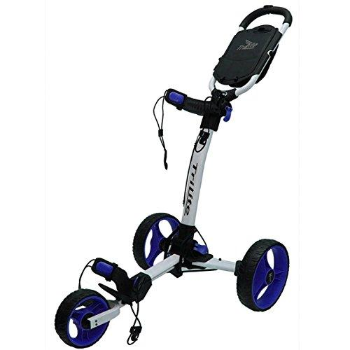"""LIMITED EDITION"" AXGLO TRILITE 3 WHEEL GOLF TROLLEY BLACK/BLUE & WHITE/BLUE +FREE £40.00 GIFT PACK (White/Blue)"