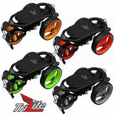 """NEW 2016"" AXGLO TRILITE 3 WHEEL GOLF TROLLEY PULL / PUSH CART ALL COLOURS + FREE EXTRAS (Black/Red)"