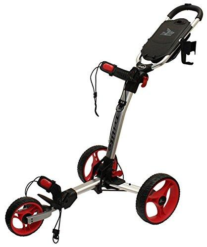 """NEW 2016"" AXGLO TRILITE 3 WHEEL GOLF TROLLEY PULL / PUSH CART ALL COLOURS + FREE EXTRAS (Silver/Red)"