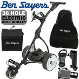 """NEW 2017"" BEN SAYERS BLACK ELECTRIC GOLF TROLLEY + 36 HOLE BATTERY & CHARGER"