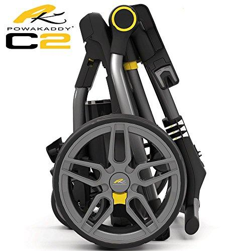 """NEW 2017"" POWAKADDY C2 COMPACT GOLF TROLLEY +EXTENDED 36 HOLE LITHIUM BATTERY"
