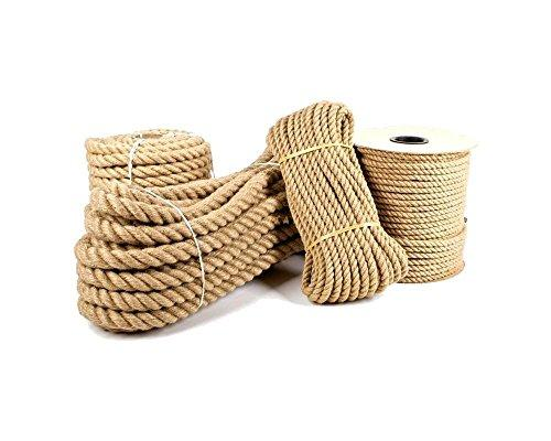 Ø 24mm Ø Jute Rope 100% Pure Natural Jute Fibers Twisted Braided Decking, Boating, Home & Garden DIY (50 meters)