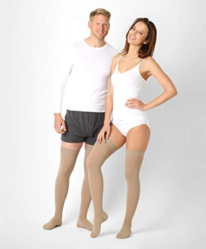 ®BeFit24 Medical Graduated Compression Stockings (18-21 mmHg, 90 Denier, Class 1) for Men and Women - Best Support for Flight and Travel - DVT, Varicose and Spider Veins Prevention, Swelling Reduction - [ Size 3 - Short: A - Beige ]