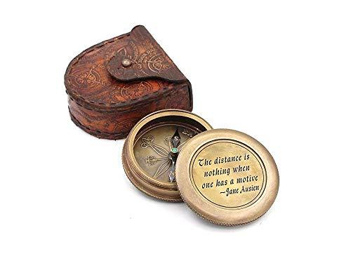 """The distance is nothing when one has a motive"", Quote By""Jane Austen"" Engraved Solid Brass Compass With Case."