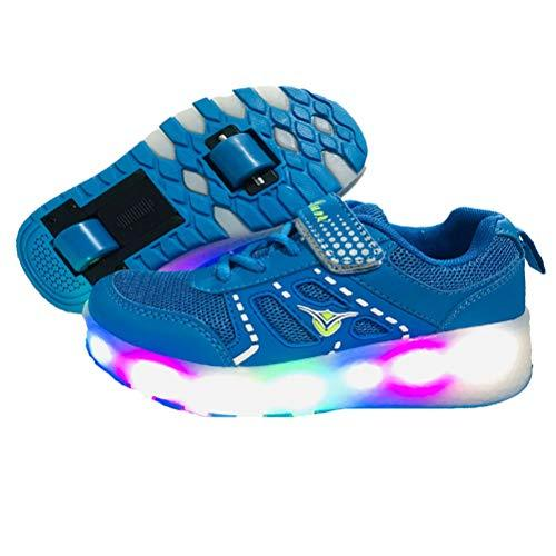 ❤Unisex Kids LED Flashing Roller Skates Shoes Wheels Retractable Technical Skateboarding Running Low Top Sport Gymnastics Sneakers Outdoor Adjustable Sports Cross Trainers❤❤❤