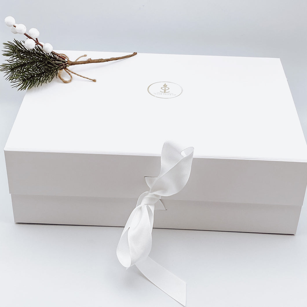 Large White Gift Box with Ribbon