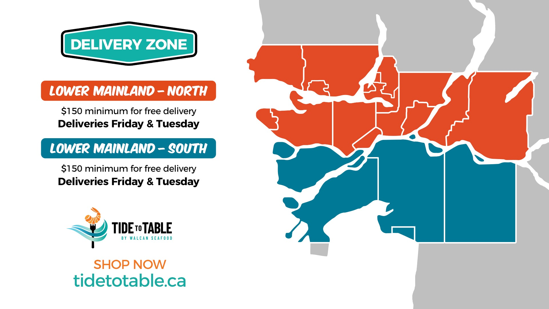 Tide to Table Delivery Areas - Lower Mainland