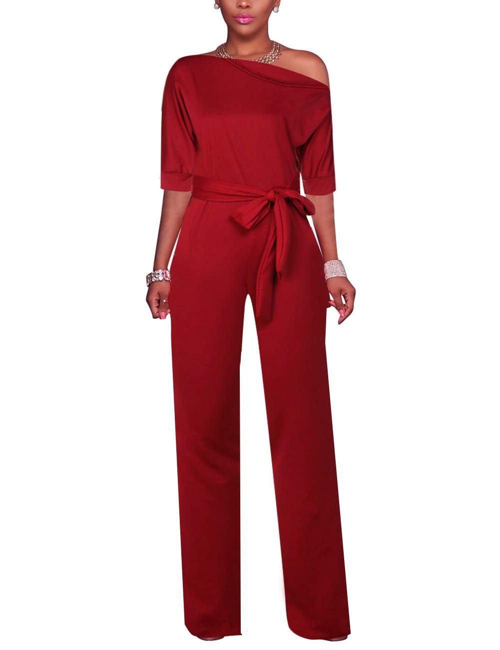 Just Thick Exclusive Sleeveless One Shoulder High Long Jumpsuit with Belt( Wine )