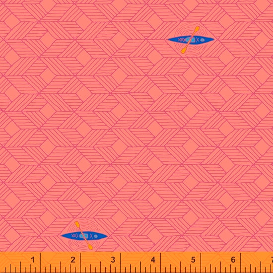 52155-4 CORAL/KAYAKS/FAVORITE THINGS/by Shayla Wolf for Windham Fabrics