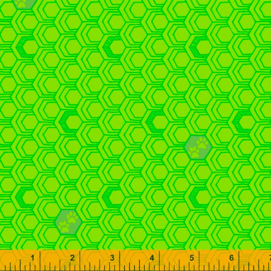 52159-10 LIME/PAWS/FAVORITE THINGS/by Shayla Wolf for Windham Fabrics