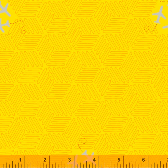 52161-14 CHROME YELLOW/AIRPLANES/FAVORITE THINGS/by Shayla Wolf for Windham Fabrics