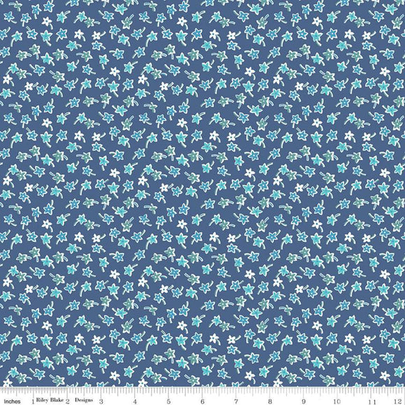 C10222 STAR FLOWERS DENIM/Flea Market/by Lori Holt for Riley Blake Designs