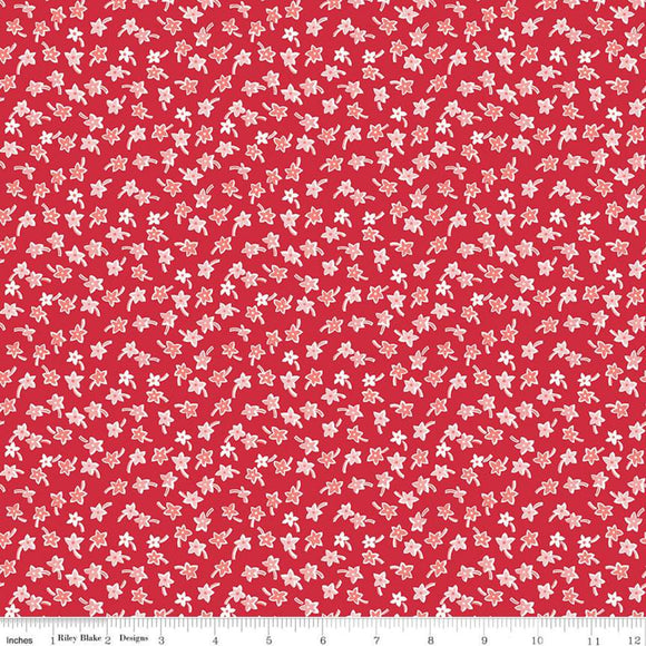 C10222 STAR FLOWERS RED/Flea Market/by Lori Holt for Riley Blake Designs