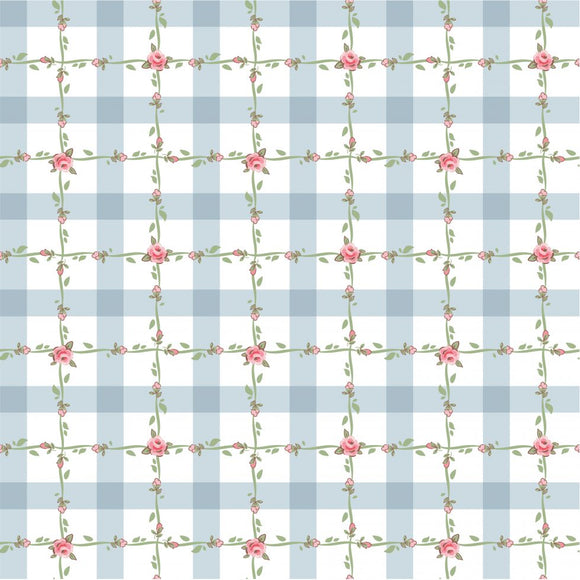 DP20420 Criss Cross Applesauce Blue/Dots & Posies by Poppie Cotton