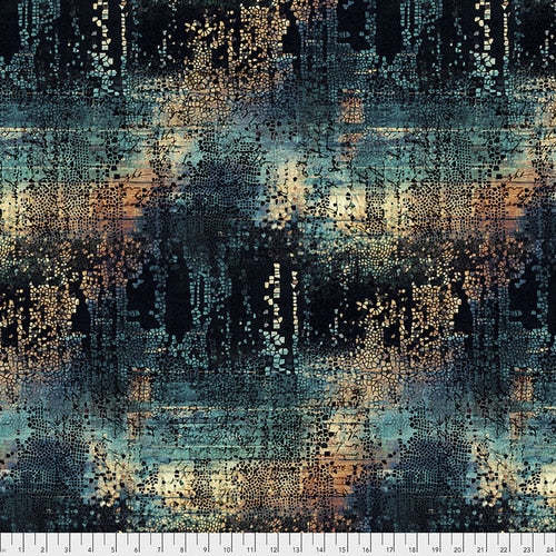 PWTH130.INDIGO/Fractured Mosaic/ABANDONED/by Tim Holtz Eclectic Elements for Freespirit Fabrics