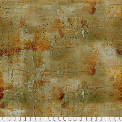 PWTH135.SIENNA/Writing Specimen/ABANDONED/by Tim Holtz Eclectic Elements for FREESPIRIT FABRICS