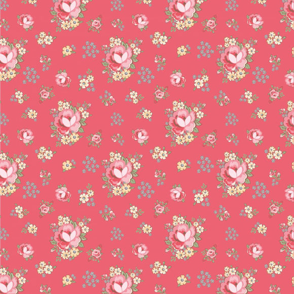 DP20410 Primroses Red/Dots & Posies by Poppie Cotton