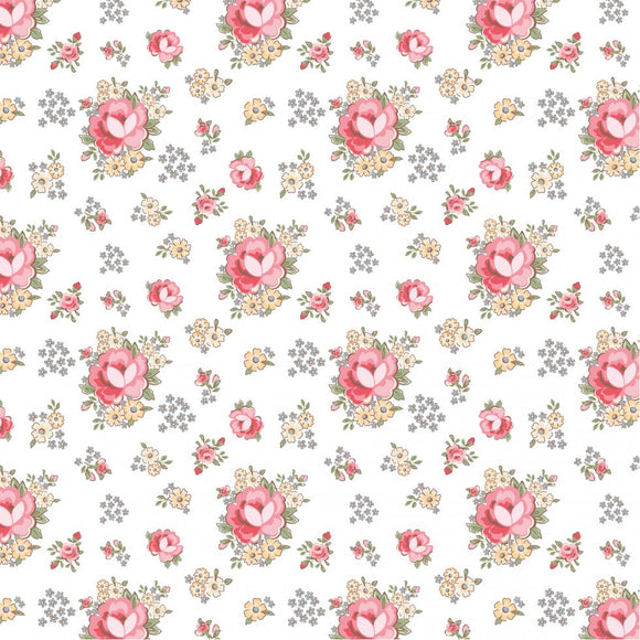 DP20409 Primroses White/Dots & Posies by Poppie Cotton