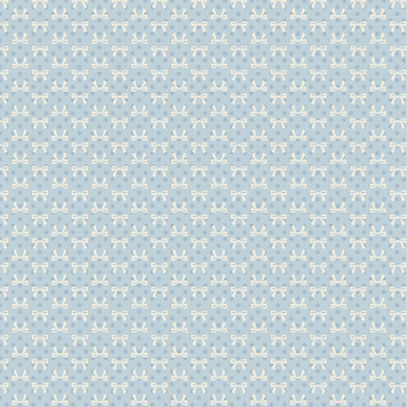 DP20408 Bows Blue/Dots & Posies by Poppie Cotton