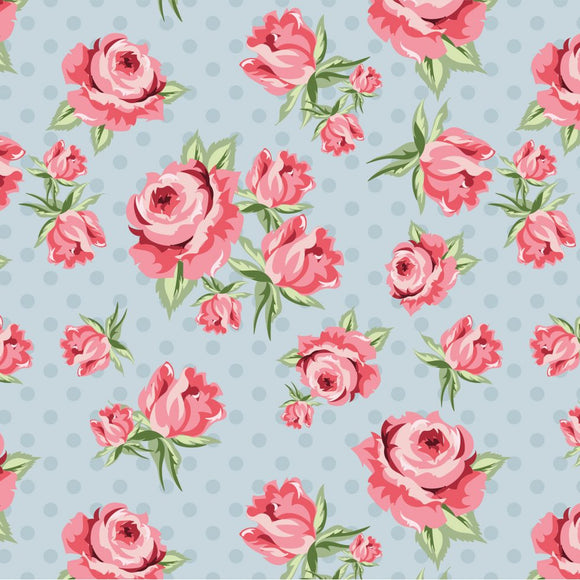 DP20402 Prize Roses Blue/Dots & Posies by Poppie Cotton
