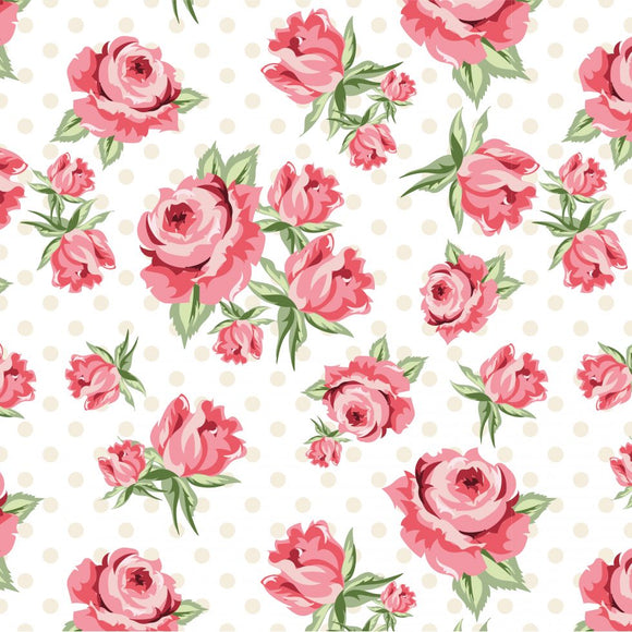 DP20400 Prize Roses White/Dots & Posies by Poppie Cotton