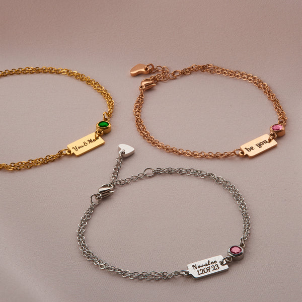 Doublechained Bar Bracelet with Engraving & Birhtstone - NOVALEE JEWELLERY