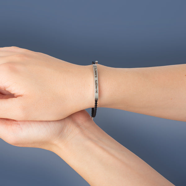 Black Bar Engraved Ropebracelet - NOVALEE JEWELLERY