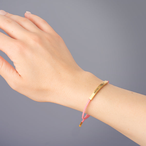 Pink Bar Engraved Ropebracelet - NOVALEE JEWELLERY
