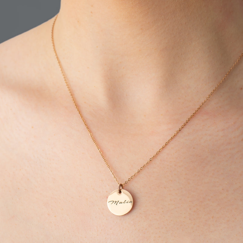 Small Personalised Disc Necklace - NOVALEE JEWELLERY